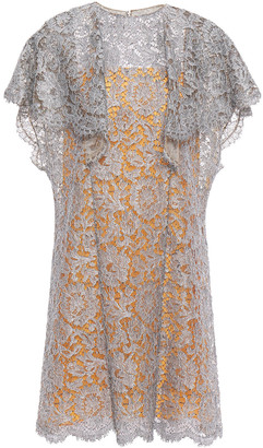 Valentino Ruffled Metallic Corded Lace Mini Dress