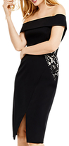 Oasis Lace Trim Bardot Pencil Dress, Black
