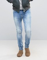 Asos Super Skinny Jeans In Light Blue Wash