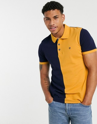 Jack and Jones polo in navy and yellow colourblock
