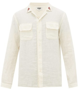YMC Cuban-collar Floral-embroidered Linen Shirt - Mens - Beige