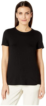 Eileen Fisher Petite Lightweight Viscose Jersey Round Neck Cap Sleeve Tee (Black) Women's T Shirt