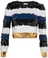 Sonia Rykiel Cropped Sequined Wool Sweater - Black