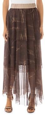 Peserico Tiered Brushstroke Print Tulle Maxi Skirt