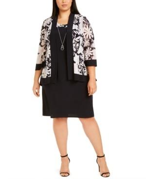 R & M Richards Plus Size Mesh Floral Jacket & Dress