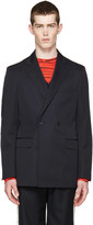 Raf Simons Navy Wool Double-breasted Blazer