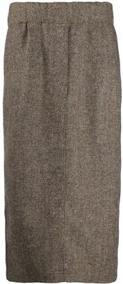 Jejia Woven Herringbone Midi Skirt
