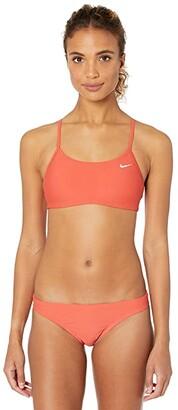 Nike Solid Racerback Bikini Top Set (Villain Red) Women's Swimwear Sets