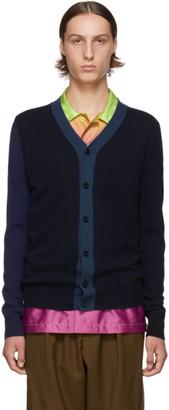 Marni Navy and Black Wool Cardigan