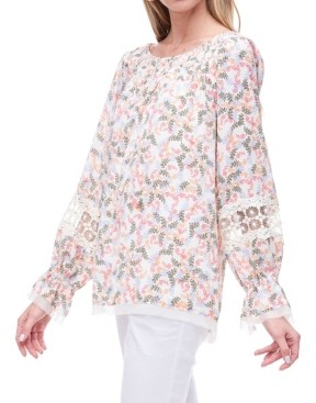 Fever Smocked Neck Blouse with Lace Inserts