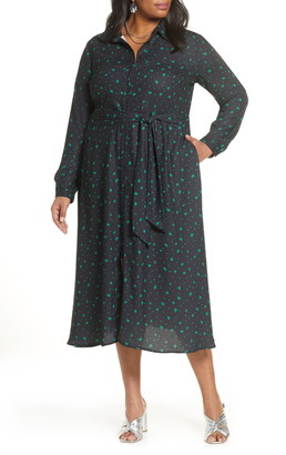 Halogen Long Sleeve Midi Shirtdress