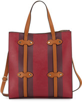 Neiman Marcus Steamer Faux-Leather Tote Bag, Wine