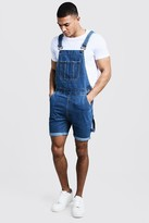 boohoo Mens Blue Slim Fit Short Length Dungarees, Blue