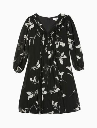 Calvin Klein Floral Chiffon 3/4 Sleeve Shift Dress