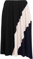 Cédric Charlier Color-block Pleated Crepe Midi Skirt - Black
