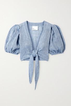 Lisa Marie Fernandez Net Sustain Pouf Tie-front Linen-blend Gauze Top - Azure