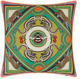 Silken Favours - Trippy Town Cushion - 45x45cm - Green
