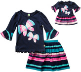 Dollie & Me Blue Butterfly Stripe Skirt Set & Doll Outfit - Girls