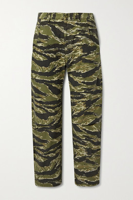 Nili Lotan Emerson Printed Cotton-canvas Straight-leg Pants - Army green