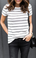 Ily Couture Distressed Stripe Tee
