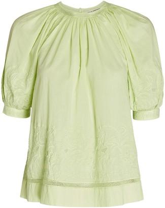 Ulla Johnson Blythe Embroidered Cotton Top