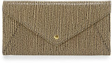 Neiman Marcus Snake-Embossed Envelope Travel Wallet, Tan/Black