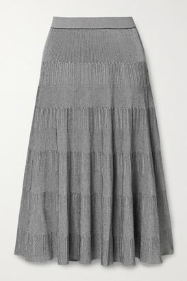 Theory Ribbed-knit Midi Skirt - Gray