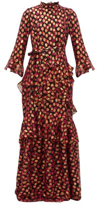Saloni Marissa Floral-print Fil-coupe Maxi Dress - Womens - Black Red