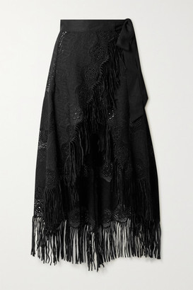 Miguelina Caterina Fringed Embroidered Cotton-blend Wrap Midi Skirt - Black