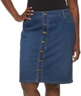 Croft & Barrow Plus Size Button-Front Jean Skirt