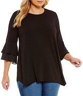 Westbound Plus 3/4 Tiered Bell Sleeve Tunic