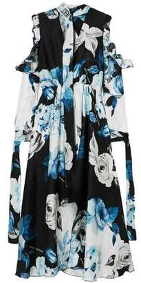 Off-White Off WhiteTM Cold-shoulder Floral-print Silk-moire Midi Dress