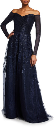 Rene Ruiz Collection Off-the-Shoulder Long-Sleeve Embroidered Gown