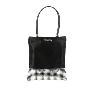 Miu Miu Mini Bag In Satin With Rhinestones And Jewel Shoulder Strap