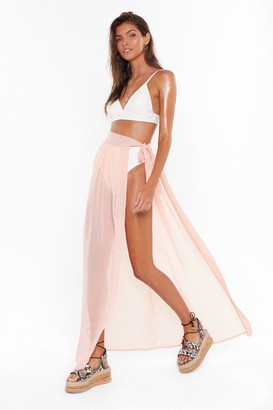 Nasty Gal Womens MS Tie Side Chiffon Beach Maxi Skirt - black - 4