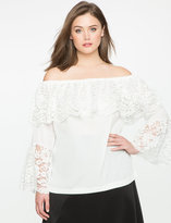 ELOQUII Plus Size Lace Overlay Off the Shoulder Blouse