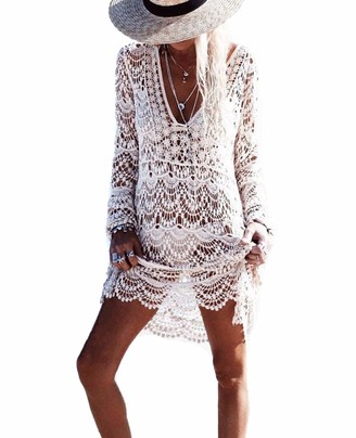 DNFC Beach Cover Up Women Cotton Lace Beachwear Cover Dress Ladies Bathing Suit Long Crochet Beach Tunic V Neck Summer Bikini Swimsuit Cover Up for Pool Swimming Holiday (White One Size)