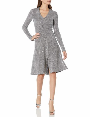 Donna Morgan Women's Stretch Textured Metallic Knit Side Ruched Dress