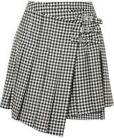 McQ Pleated Gingham Wool-twill Wrap Mini Skirt - Black