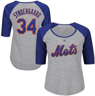 Majestic Women's Noah Syndergaard Gray New York Mets Plus Size Name & Number Three-Quarter Sleeve Raglan T-Shirt