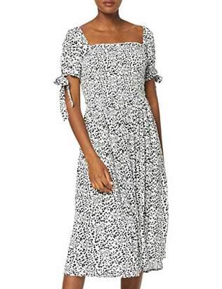 Dorothy Perkins Women's White Ditsy Short Sleeve Crinkle Gypsy Midi Dress,6 (Size:6)