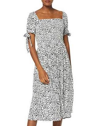 Dorothy Perkins Women's White Ditsy Short Sleeve Crinkle Gypsy Midi Dress, Black (Black 0), (Size:)