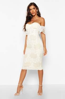 boohoo Embroidered Off Shoulder Midi Dress
