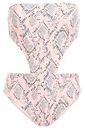 Vix Paula Hermanny Maite Lace-up Cutout Snake-print Bandeau Swimsuit