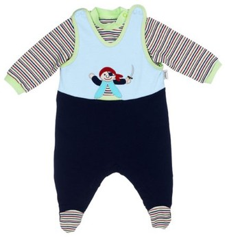 Sterntaler 75969 Pirate Pepe Jersey Romper Set 3-Piece Including Pullover and Matching Socks Colour Blue (Colour no. 31) - Blue - 0-3 Months