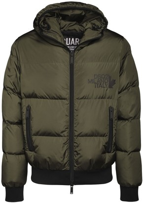 DSQUARED2 Logo Print Hooded Down Jacket
