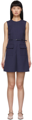 RED Valentino Navy Belted Box Pleat Dress