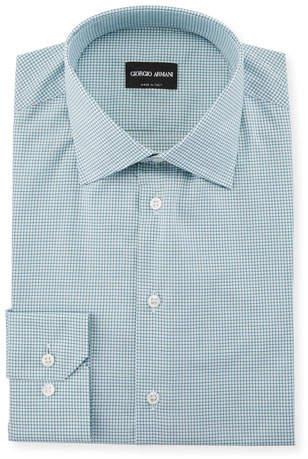 Giorgio Armani Men's Micro-Graph Cotton Dress Shirt, Green
