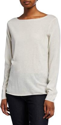 Majestic Boat-Neck Long-Sleeve Cashmere Sweater