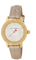 Betsey Johnson Women's Crystal Accented Braided Leather Strap Watch
